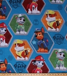 Fleece Paw Patrol Rescue Dogs Puppies Police Firefighter Chase Marshall Rocky Rubble Hexagons Frames Kids Children's Blue Fleece Fabric Print by the Yard PW-4019-4Ad