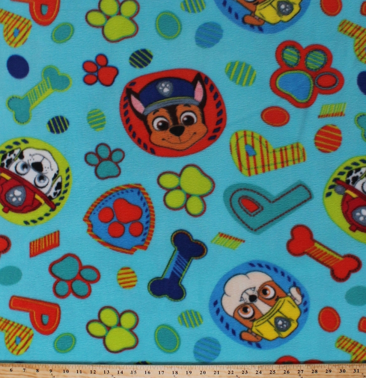 Fleece Paw Patrol Rescue Dogs Chase Marshall Rubble Puppies Circles Paw  Prints Bones Puptastic Dream Team Kids Childrenu0027s Blue Fleece Fabric Print  By The ...