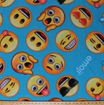 Fleece Emojis Smiley Faces Crying Winking Expressions Texting Classic Emoji Blue Kids Fleece Fabric Print by the Yard EM-0005-MAd