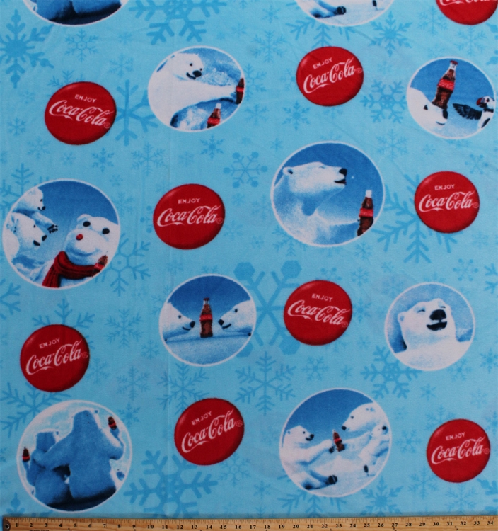 fleece coca cola coca cola coke logos polar bears pop soda soft drinks winter snow snowflakes blue fleece fabric print by the yard 1488