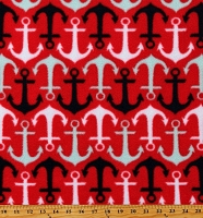 Fleece Anchors Black Gray White Nautical Anchors on Red Fleece Fabric Print by the Yard (6629F-1C)