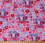 Fleece Angelina Ballerina Kids Children's Cartoons Characters Mouse Girls Pink Flowers Fleece Fabric Print by the Yard (28510)