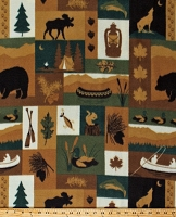 Fleece Northwoods Patch Moose Bears Canoes Fishing Camping Cabin Nature Brown Green Fleece Fabric Print by the Yard (6308M-10B-northwoods)