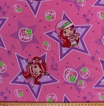 Fleece Strawberry Shortcake Singing Music Notes Stars Strawberries Pink Kids Fleece Fabric Print by the Yard 23337-pin