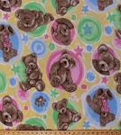 Fleece Boyd's Bears Teddy Bears Circles Stars on Yellow Kids Baby Fleece Fabric Print by the Yard 20987-mul1