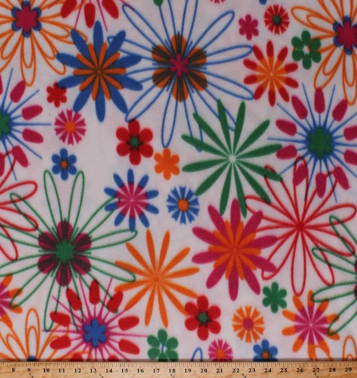 Fleece flowers pink orange blue green girls floral on white fleece fleece flowers pink orange blue green girls floral on white fleece fabric print by the yard 4914f 11a mightylinksfo