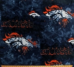 Fleece Denver Broncos Liquid Blue NFL Football Fleece Fabric Print by the yard (6356)