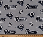 Fleece Los Angeles Rams Grey NFL Football Fleece Fabric Print by the Yard (14759D)