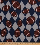Fleece Footballs Blue/Gray Argyle Check Sports Fleece Fabric Print by the Yard (sJBmfp301-01g)