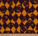 Fleece Footballs Maroon/Gold Argyle Check Sports Fleece Fabric Print by the Yard (2646g-11i)