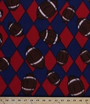 Fleece Footballs Blue/Red Argyle Check Sports Fleece Fabric Print by the Yard 9628g-4i