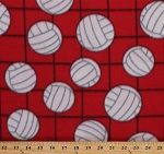 Fleece Volleyballs on Net Red Sports Fleece Fabric Print by the Yard (697-red)