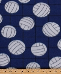 Fleece Volleyballs on Net Blue Sports Fleece Fabric Print by the Yard (697-blue)