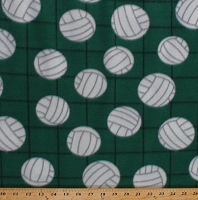 Fleece Volleyballs on Net Green Sports Fleece Fabric Print by the Yard 3511m-12n