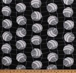 Fleece Volleyballs Volleyball Net Balls Allover on Black Sports Fleece Fabric Print by the Yard (6744S-1C-black)