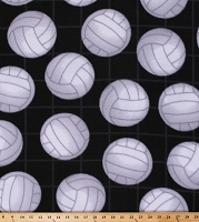 Fleece Volleyballs Volleyball Net & Balls on Black Sports Fleece Fabric Print by the Yard (DT-3819-MA-4BLACK)