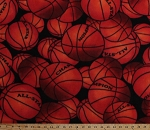 Fleece Basketball Packed Basketballs on Black Sports Fleece Fabric Print by the Yard 221851-7ap1d
