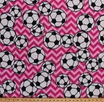 Fleece Soccer Balls on Pink Chevron Stripes Sports Fleece Fabric Print by the Yard 3380m-11n-pink