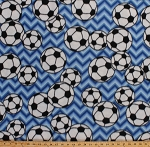 Fleece Soccer Balls on Blue Chevron Stripes Sports Fleece Fabric Print by the Yard 3380m-11n-blue