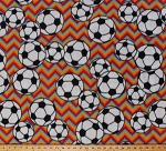 Fleece Soccer Balls on Colorful Rainbow Chevron Stripes Sports Fleece Fabric Print by the Yard 3380m-11n-multi