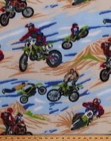 Fleece Dirt Bikes Dunes Motorcycles Motocross Racing Sports Fleece Fabric Print by the Yard (5935A-7B-bikes)