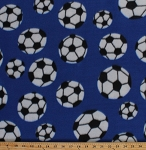 Fleece Soccer Balls Tossed Soccerballs on Blue Sports Fleece Fabric Print by the Yard 9628G-4I-blue