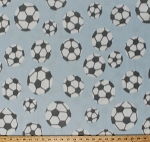 Fleece Soccer Balls Tossed Soccerballs with Gray Spots on Baby Blue Sports Fleece Fabric Print by the Yard sfs0036g