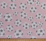 Fleece Soccer Balls Tossed Soccerballs with Gray Spots on Light Pink Sports Fleece Fabric Print by the Yard 9628G-4I-pink