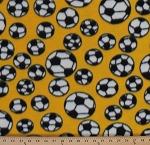 Fleece Soccer Balls Tossed Soccerballs on Yellow Sports Fleece Fabric Print by the Yard smfp300-c5h