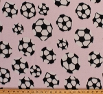 Fleece Soccer Balls Tossed Soccerballs on Light Pink Sports Fleece Fabric Print by the Yard 4380g-10f
