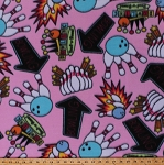 Fleece Bowling Pins Balls Vintage Bowling Alley Signs Pink Fleece Fabric Print by the Yard (4902M-12A-pink)