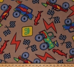 Fleece Trucks Monster Truck Racing Checkered Flags Vehicles Truck Rally Tan Sports Fleece Fabric Print by the Yard (4902M-12A-tan)