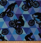 Fleece Cycling Bicycles Bikes Bike Racing Cyclists Sports Blue Purple Triangles Fleece Fabric Print by the Yard (4902M-12A-bluebikes)
