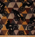 Fleece Cycling Bicycles Bikes Bike Racing Cyclists Sports Brown Triangles Fleece Fabric Print by the Yard (4902M-12A-brown)