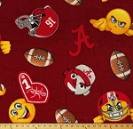 Fleece University of Alabama Emojis Footballs Crimson Tide Red College Sports Team Fleece Fabric Print by the Yard (al1126s)