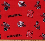 Fleece North Carolina State University Wolfpack College Fleece Fabric Print by the Yard (ncs035)
