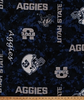 Fleece University of Utah State Aggies Digital Camouflage Blue College Fleece Fabric Print By the Yard (usu1122)