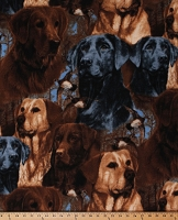 Fleece (not for masks) Hunting Dogs Labrador Retrievers Ducks Animals Fleece Fabric Print by the Yard (WW-3013-MA-1BROWN/BLACK)