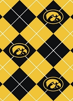 Fleece University of Iowa Hawkeyes Argyle College Fleece Fabric Print by the yard (ia-095)
