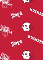 Fleece University of Nebraska Cornhuskers Red College Fleece Fabric Print by the Yard (neb-035)