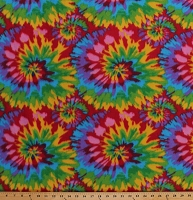 Fleece (not for masks) Tie Dye Starburst Fleece Fabric Print by the Yard otyedyebrightq