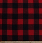 Fleece Red Black Buffalo Plaid Checks Checkered Fleece Fabric Print by the Yard (5057M-12A-red)