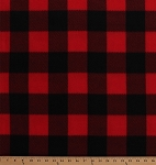 Fleece Red Black Buffalo Plaid Checks Checkered Squares Fleece Fabric Print by the Yard (2764M-7N-buffaloplaid)