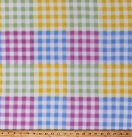 Fleece Multi-Color Gingham Checkered Squares Checks Plaid Pastels Pink Blue Green Yellow Fleece Fabric Print by the Yard (6308M-10B-multi)