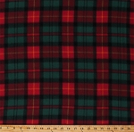 Fleece (not for masks) Christmas Plaid Red Green Holiday Plaid Check Winter Fleece Fabric Print by the Yard (6308M-10B-christmasplaid)