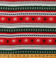 Fleece (not for masks) Christmas Sweater-Look Red and Green Stripes Snowflakes Winter Holiday Fleece Fabric Print by the Yard (6629F-1C)