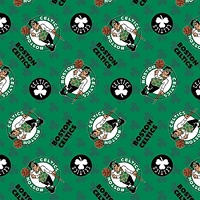 Fleece Boston Celtics Green Clovers NBA Pro Basketball Sports Team Fleece Fabric Print by the yard (83bos0002a)