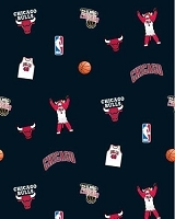 Fleece Chicago Bulls Black NBA Pro Basketball Sports Team Fleece Fabric Print by the yard (s035bullss)