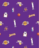 Fleece Los Angeles Lakers NBA Pro Basketball Sports Team Fleece Fabric Print by the yard (s035lakerss)