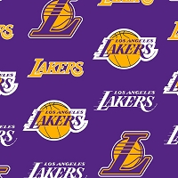 Fleece Los Angeles Lakers Purple NBA Basketball Pro Sports Team Fleece Fabric Print by the Yard (83lal0003c)